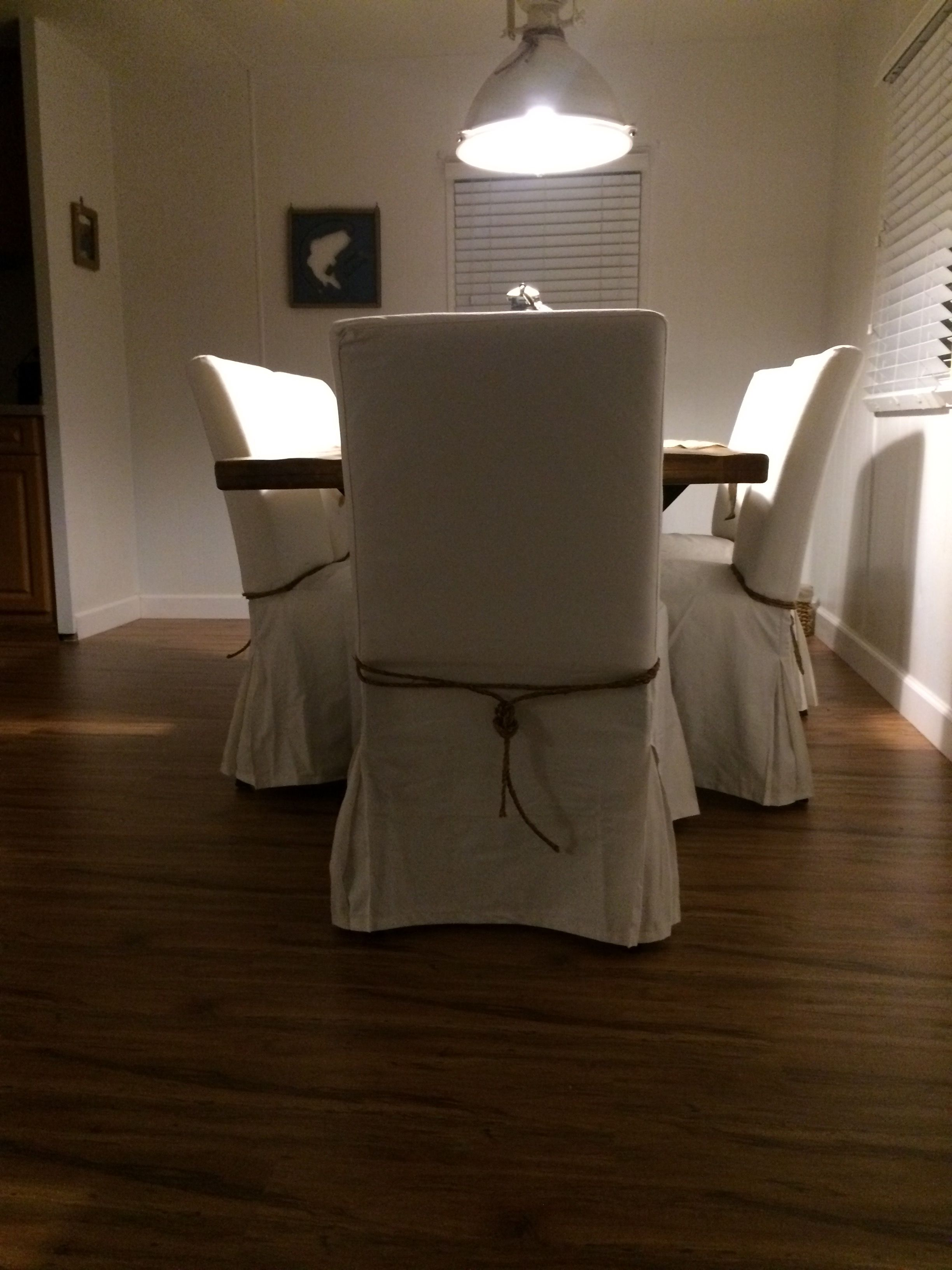 Nautical knot décor on chairs. Thanks to my brother in law ...