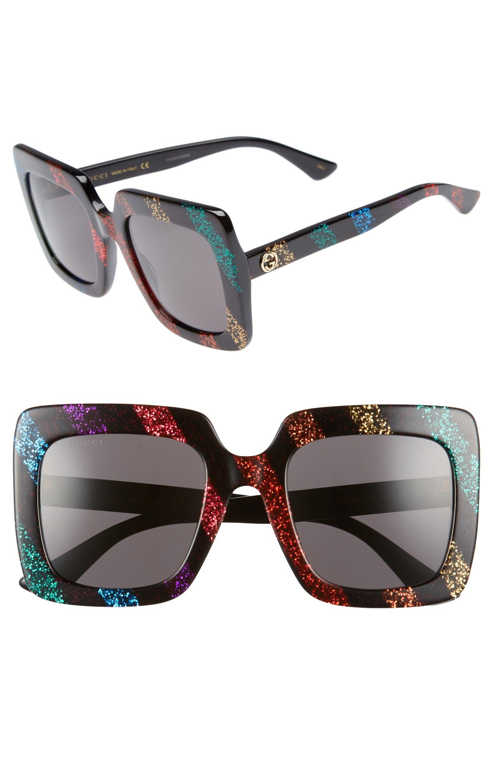 c80fbb9c4 53mm Glitter Stripe Square Sunglasses, Main, color, Rainbow | (Sun ...