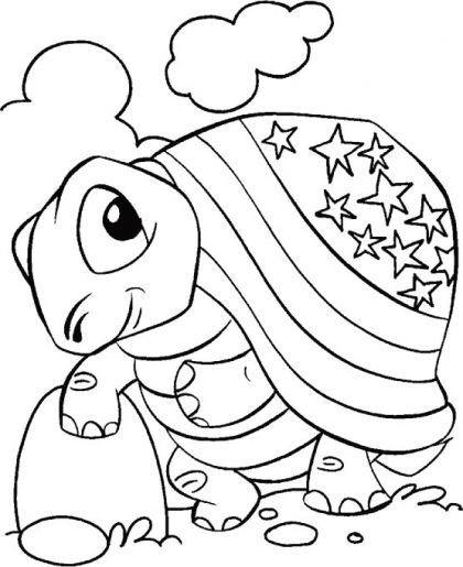 4th of july american flag on the tortise coloring pages | Coloring ...