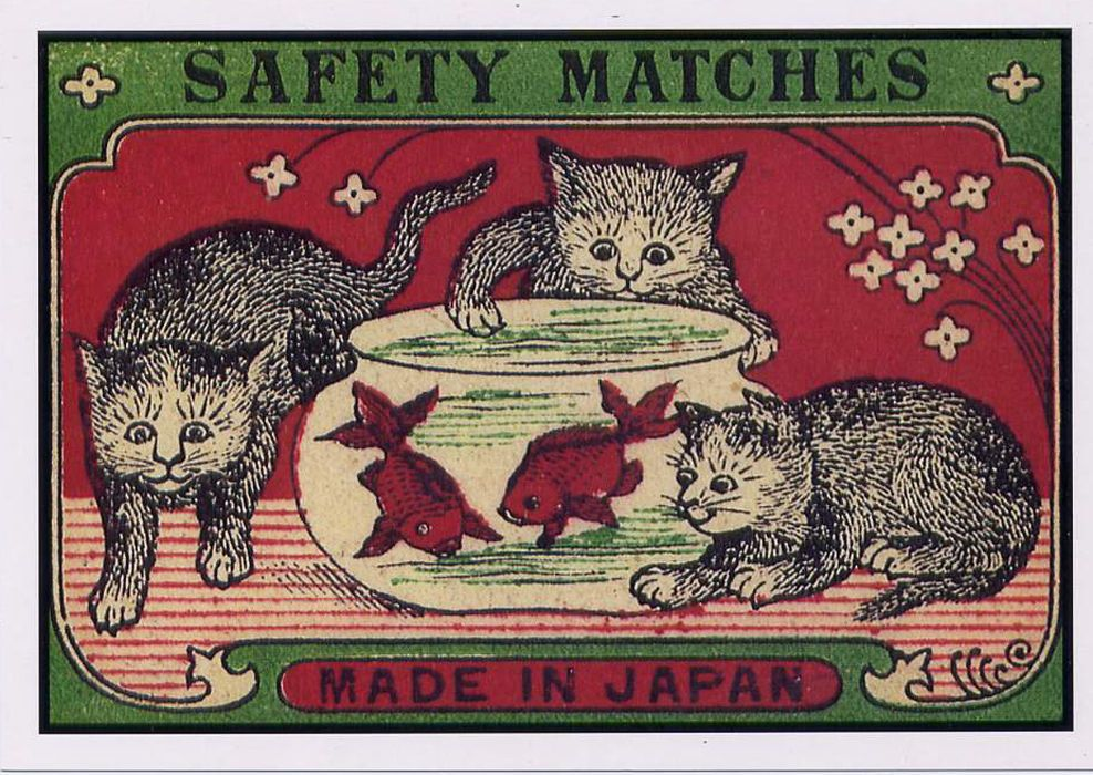 Cats Kittens & Fish early 20th c Japanese Match Label Art POSTCARD