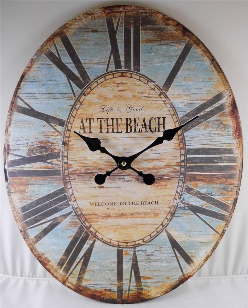 Oval wall clock life is good welcome to the beach clocks oval wall clock life is good welcome to the beach clocks decorative home decor amipublicfo Gallery