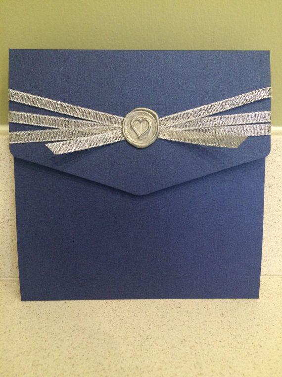 ANY COLOUR SCHEME Wax Sealed Handmade Pocketfold Wedding Invitation