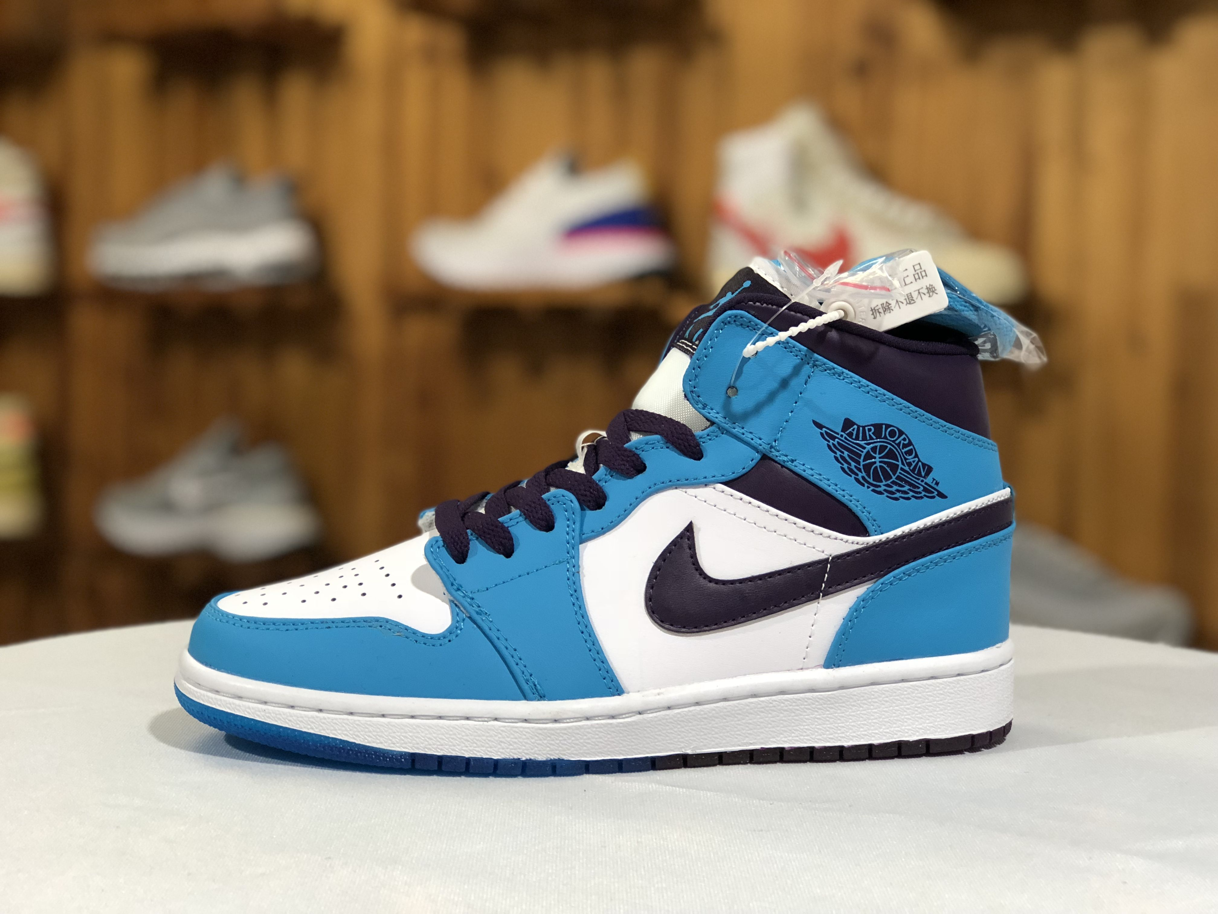 Air Jordan 1 Mid Hornets Blue Purple Basketball Shoes For Men Jordan Shoes For Men Purple Basketball Shoes Air Jordans