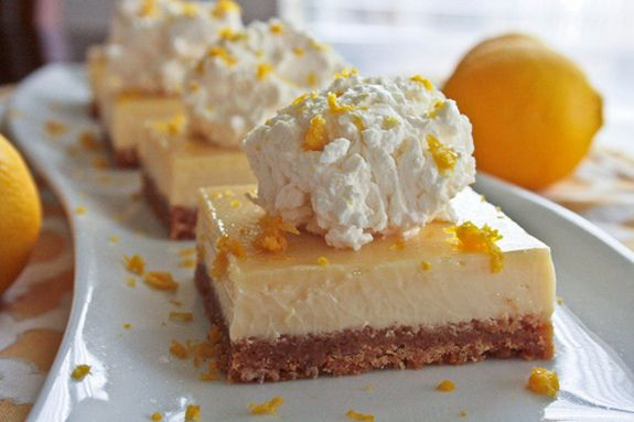 Lemon Pie Bars - click on picture. Then click on link under picture. Now scroll all the way to the bottom of the page for the recipe.  Has info regarding cookbooks, etc... but just keep going until you find the recipe.  These look good!