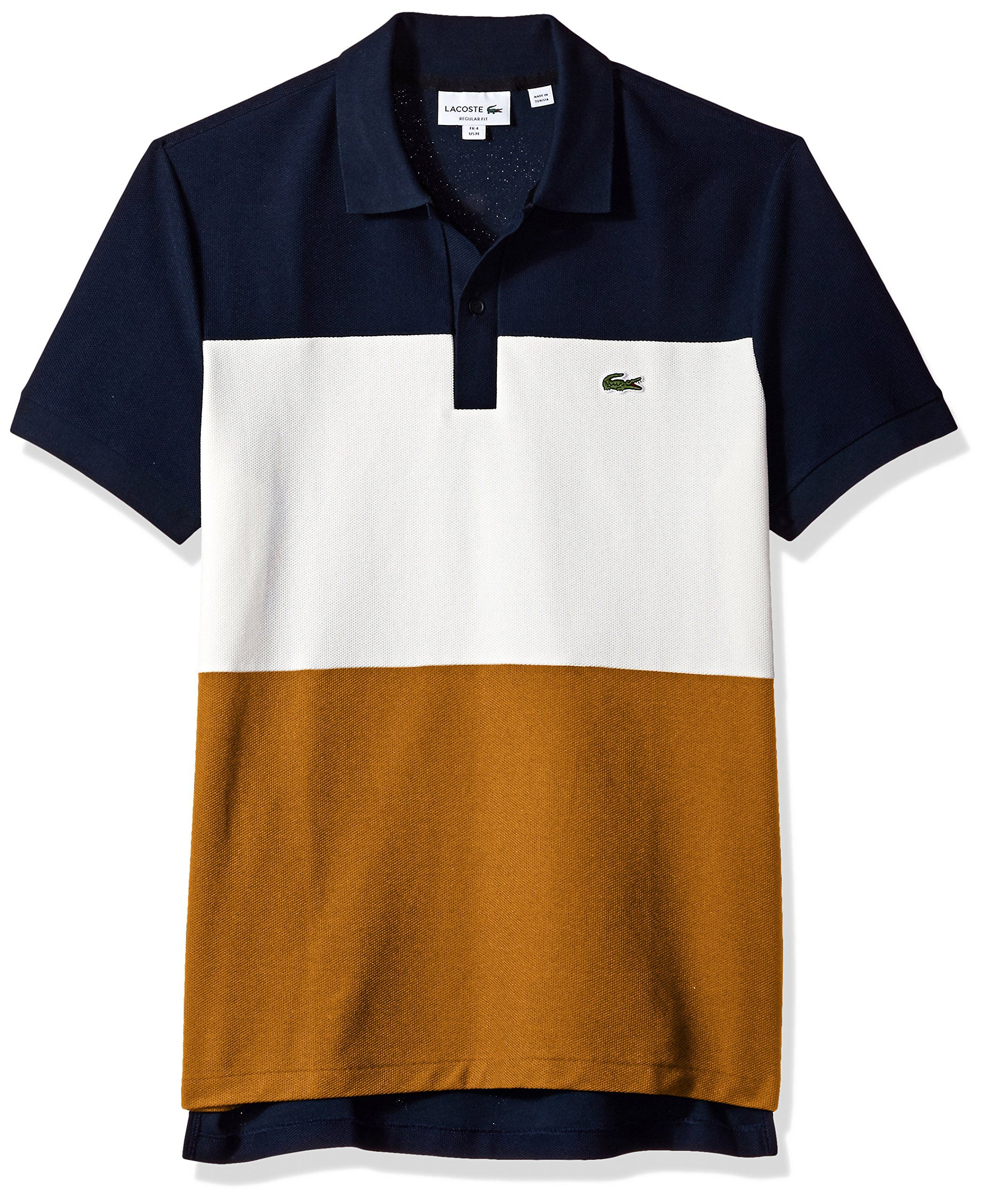 Lacoste Mens Short Sleeve Noppe Pique Striped Color Block Polo Navy  Blue Flour Renaissance Brown 4   Check out the image by visiting the link. 7c31efaf62935