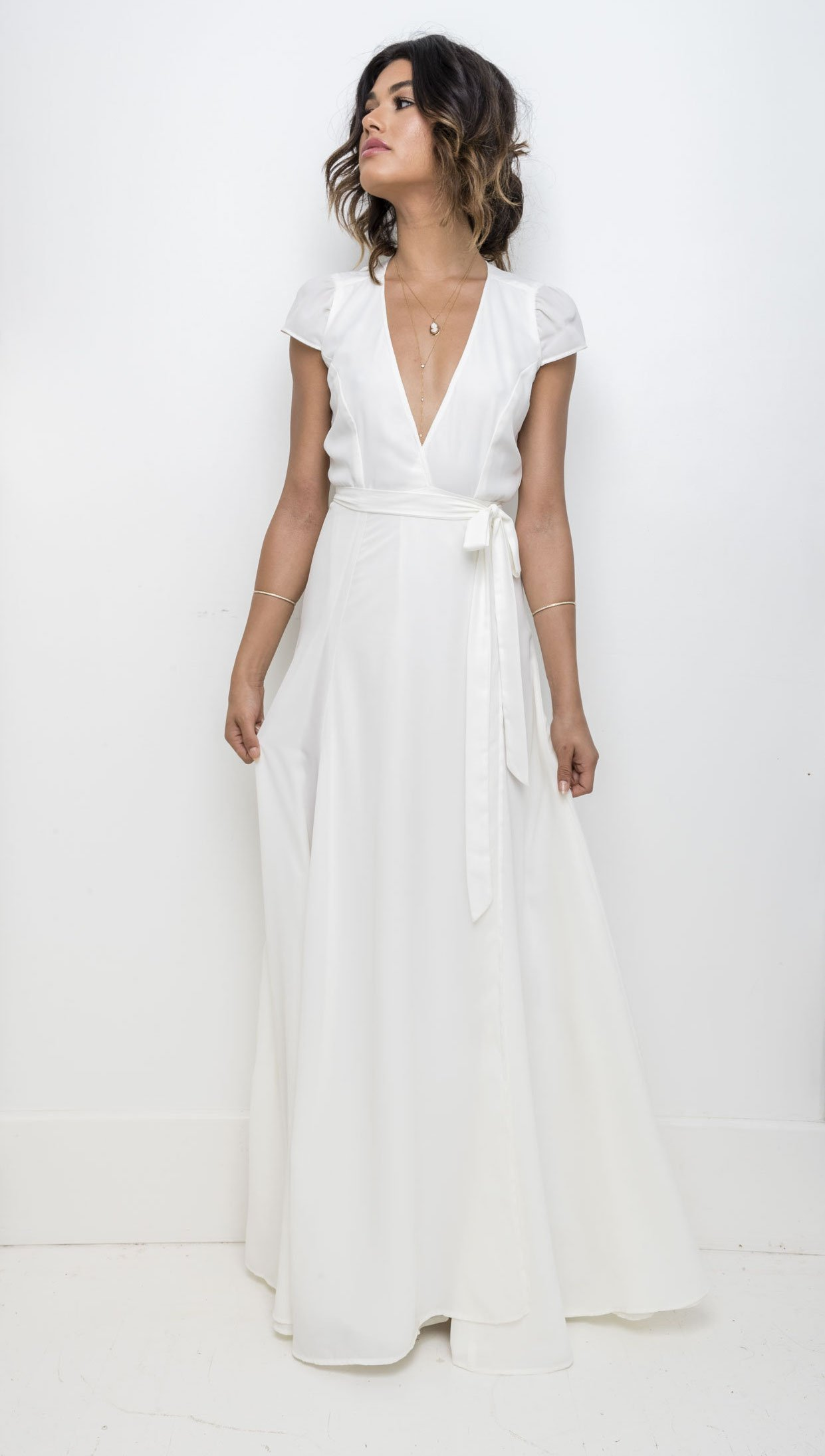 Lindsay Wrap  Wedding gown a line, Simple wedding gowns, Casual