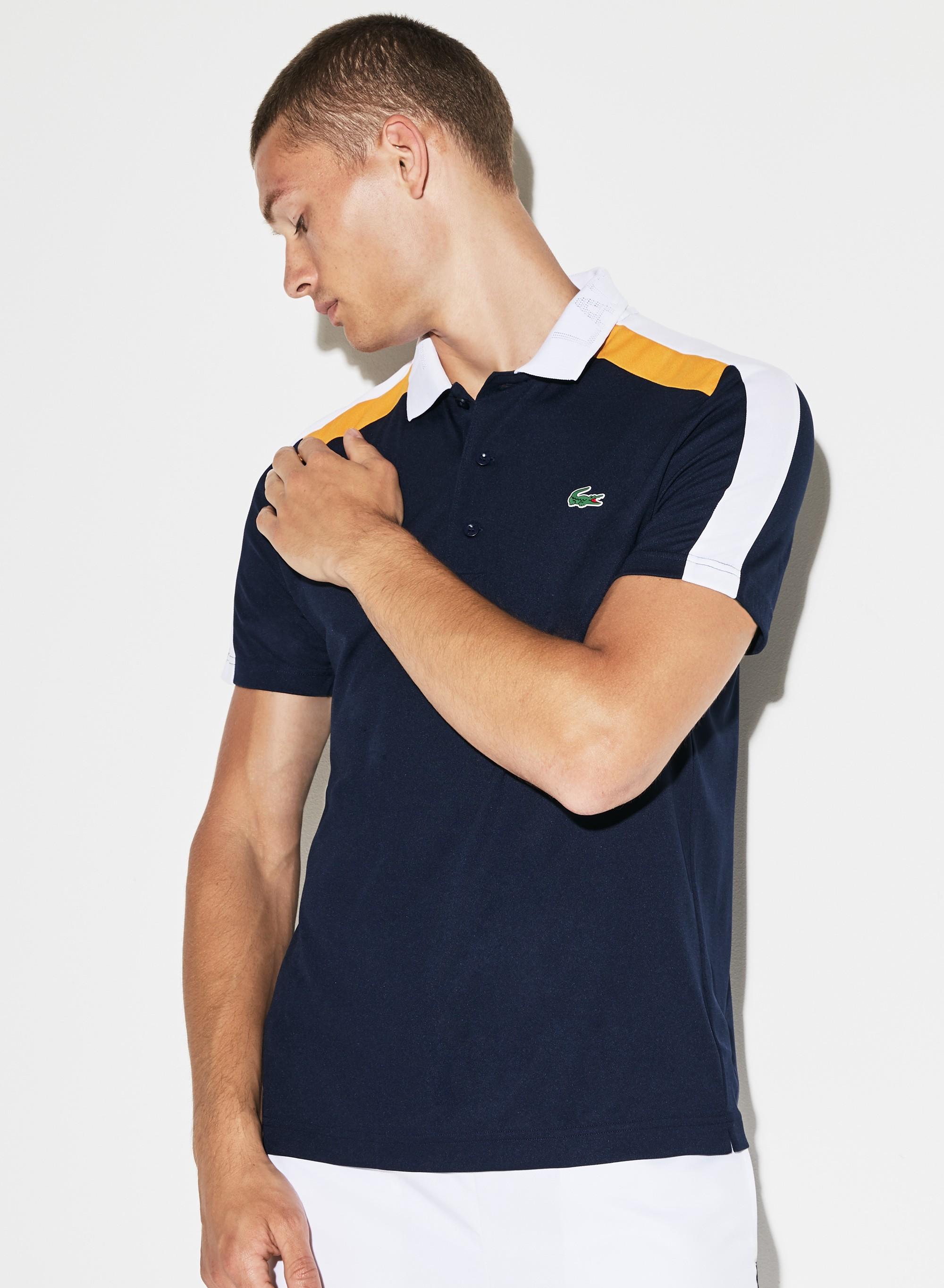 be56a2348e Lacoste Men's Sport Contrast Band Technical Piqué Tennis Polo - Navy  Blue/White-Pomelo 4Xl Green