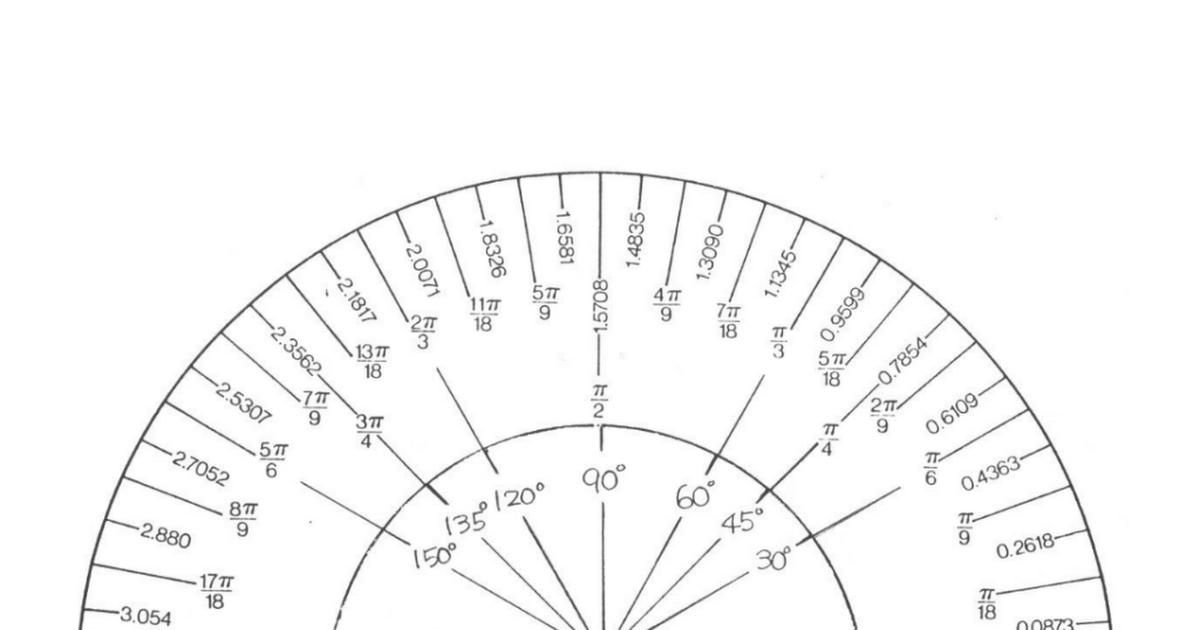 image regarding Printable Protractor Pdf referred to as Radian Protractor.pdf trig Protractor, Precalculus, Math