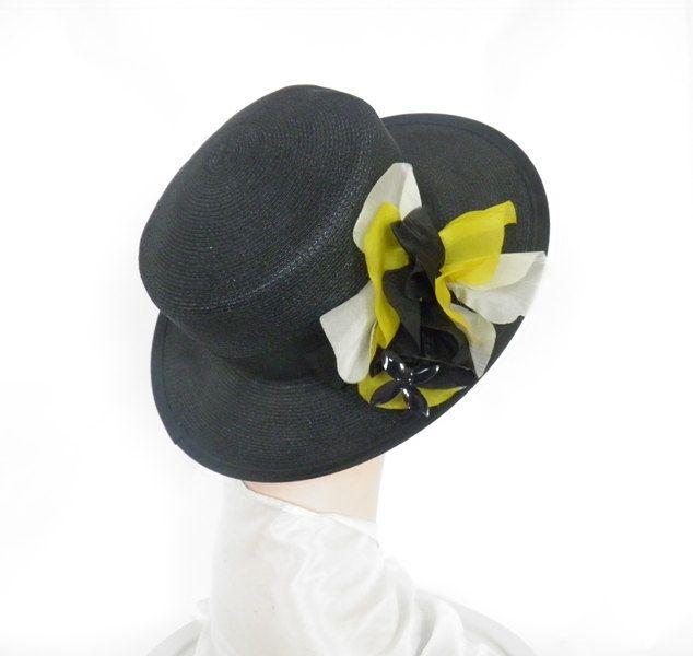 1960s black hat, vintage wide brim, mod flowers by TheVintageHatShop on Etsy