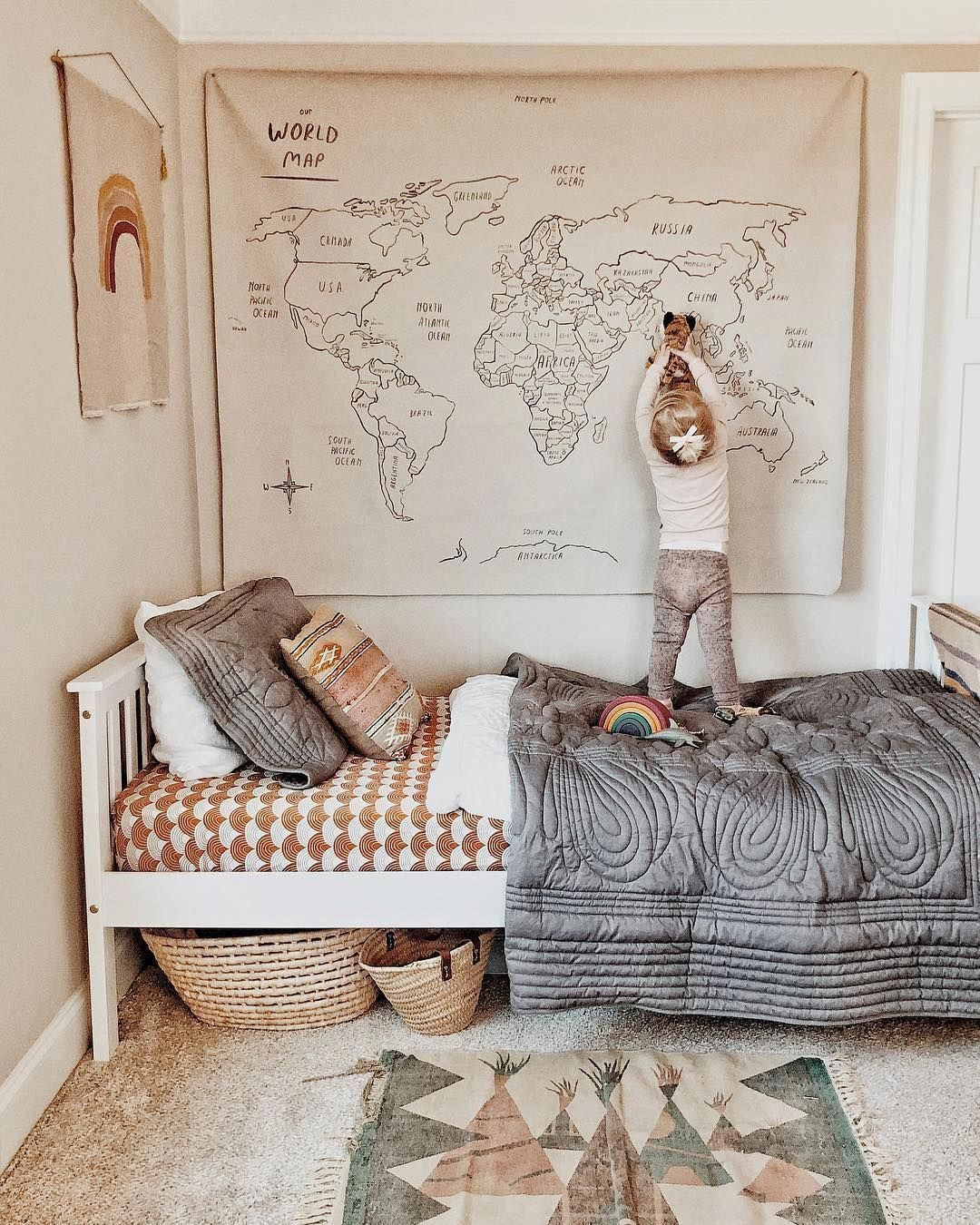 We love the fabric world map in this gorgeous warm toned bedroom perfect for your little explorer! bedroom room nursery childrens kids girls boys stylish inspiration inspo  KOKO KIDS b is part of Kid room decor -