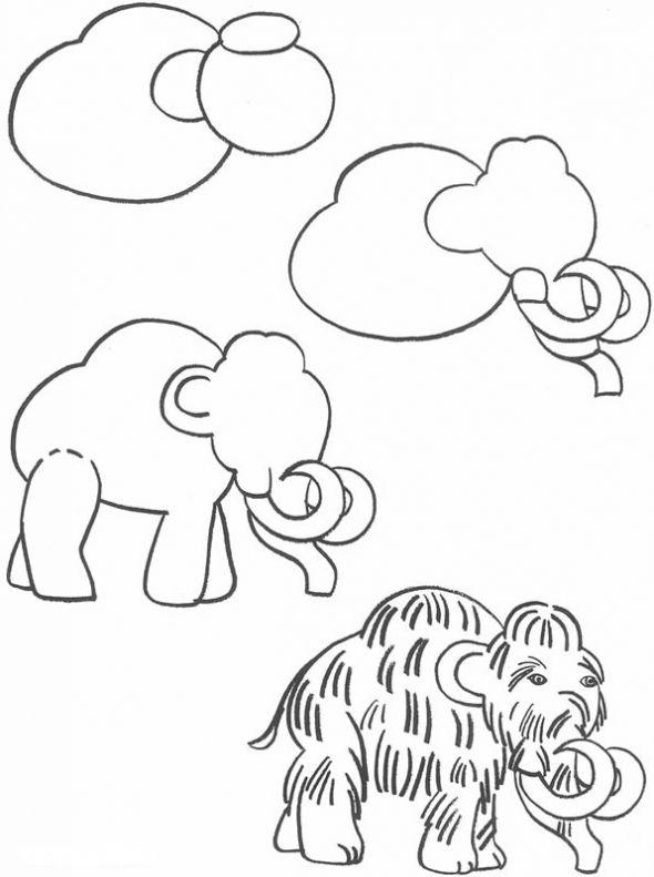 How To Draw A Mammoth Dessin Prehistorique Prehistorique Dessins Faciles