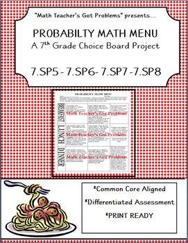 Probability Math Menu A Choice Board Project  Summative