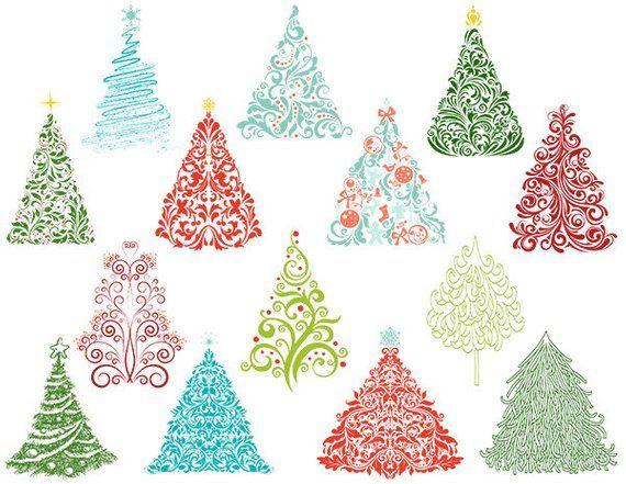 Christmas Tree Clip Art Flourish Swirls Christmas Tree Etsy Christmas Tree Clipart Christmas Tree Art Hand Of Cards