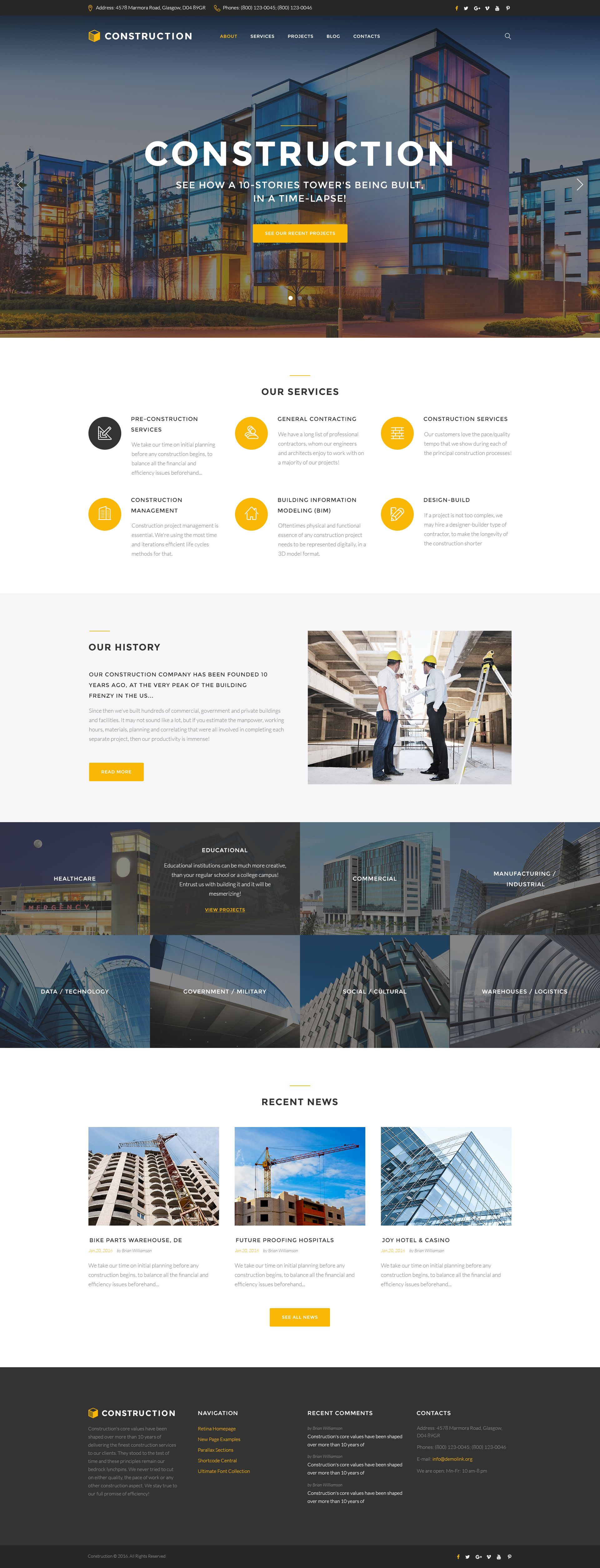 Construction Business Responsive Multipage Website Html Template This Template Is A Chil Construction Website Company Profile Design Website Template Design