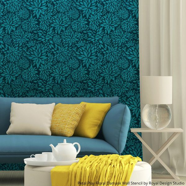 Get The Blues With Wall Stencil Projects In Beautiful Blue Hues Stencil Painting On Walls Stencils Wall Floral Wall Stencil