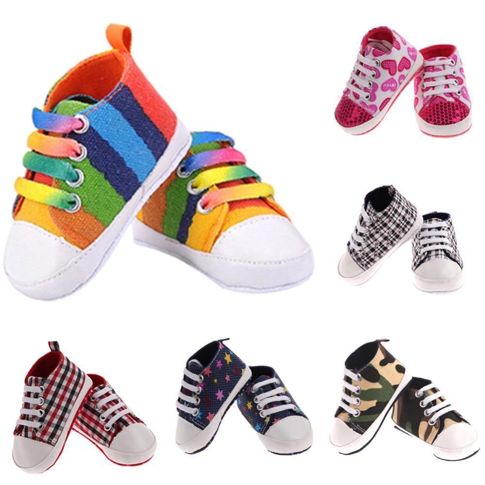 Infant Baby Boy Girl toile soft sole Crib Shoes Sneaker Nouveau-né à 24 mois