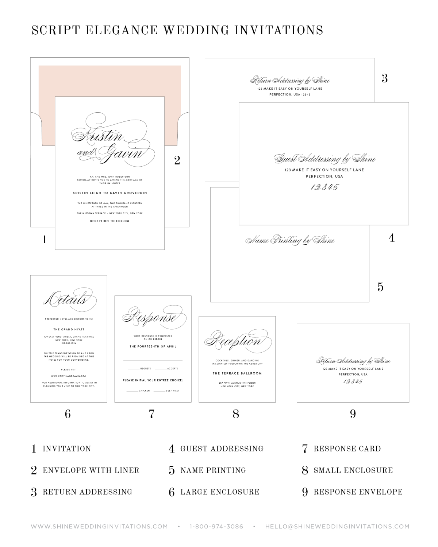 Script Elegance Ribbon Wedding Invitations   invites and