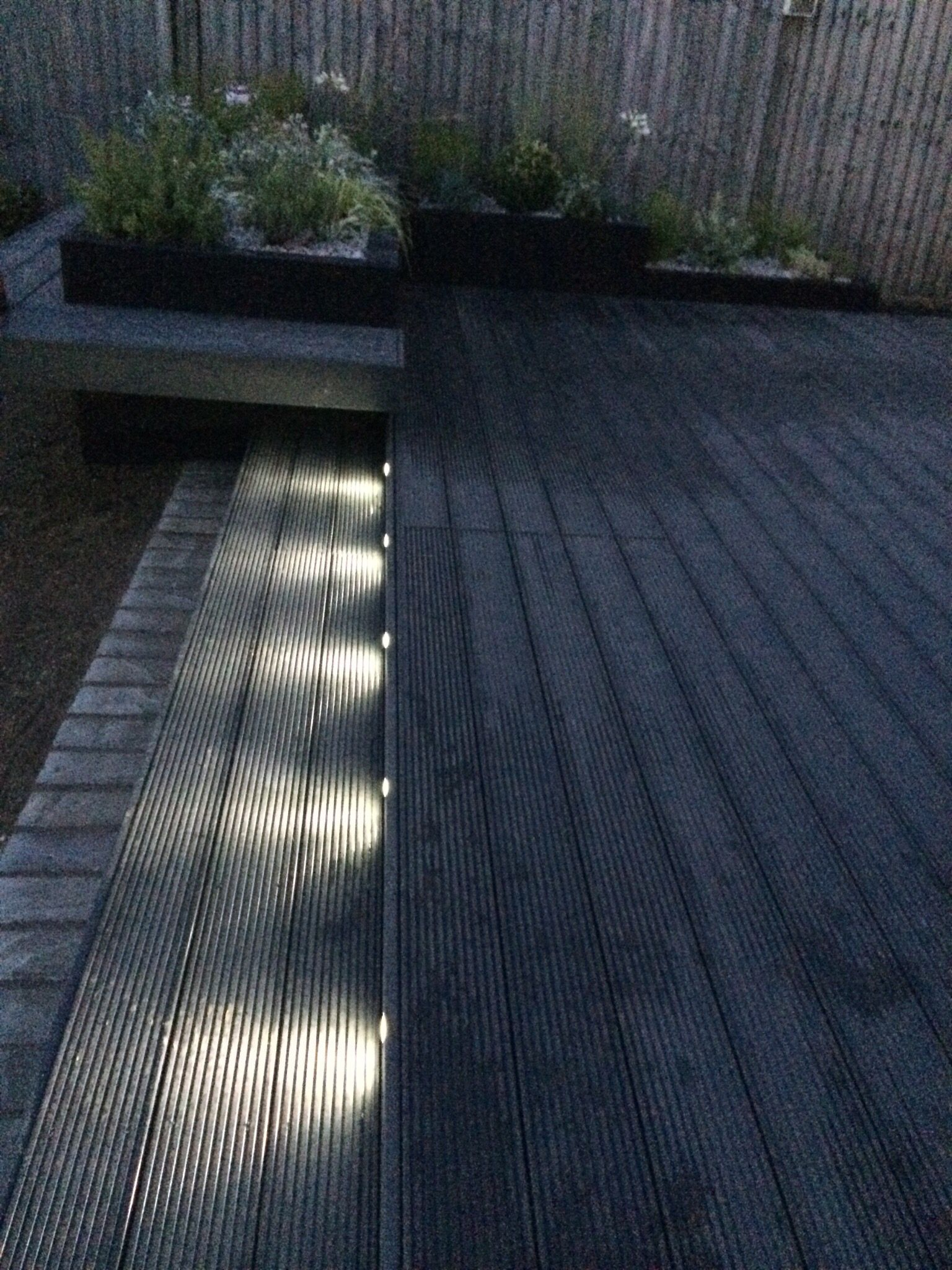 Funky led garden lights composite decking in dark grey for Grey composite decking