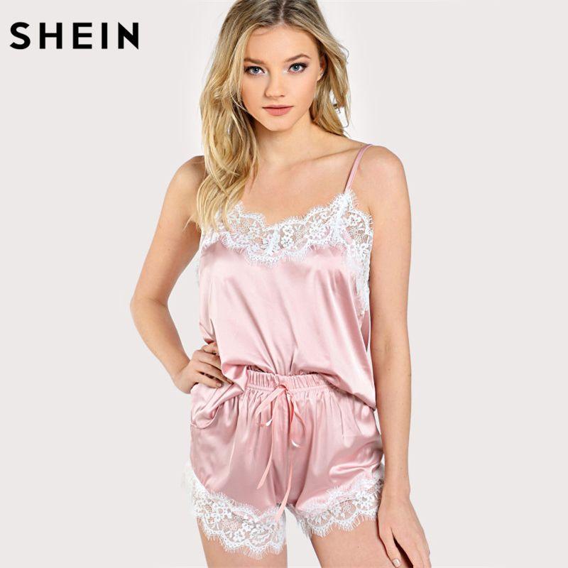 Sleeping Wear Sexy Pajama Sets Lace Trim Satin Spaghetti Strap Cami Top and  Shorts Pajama Set cb0fe1cd6