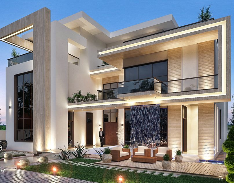 White Dove Palace On Behance Modern Villa Design Duplex House Design Modern Exterior House Designs