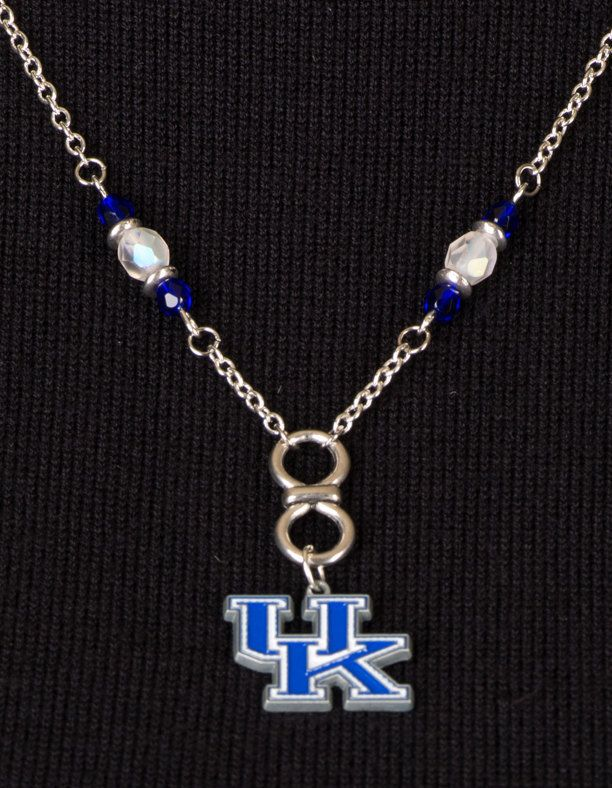 University of Kentucky Necklace,  Go Big Blue, UK, White Czech Beads, Dark Blue Czech Glass Beads, Silver Spacers by SuzetteGaleJewelry on Etsy