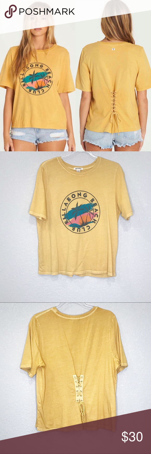 Billabong Take Back Lace Up Vintage Tee Gold Dust Vintage Tees Graphic Tee Shirts Tees