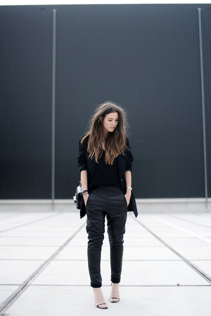 5159be69e6e90f Cindy Van Der Heyden is wearing a leather track trousers from Gestuz