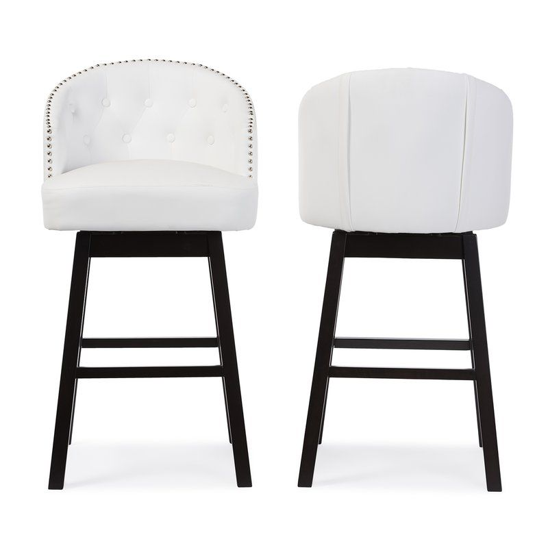 Chaim 30 62 Swivel Bar Stool White Leather Bar Stools Leather