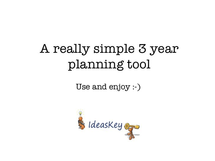Really simple 3 year plan template by IdeasKey  via slideshare