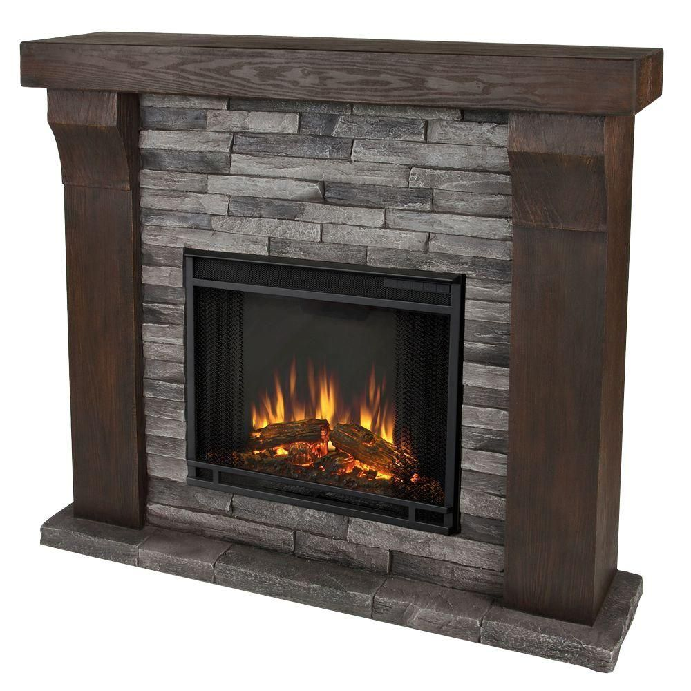 Real Flame Avondale 48 In. Cast Electric Fireplace In Gray  Ledgestone 3620E GL At The Home Depot