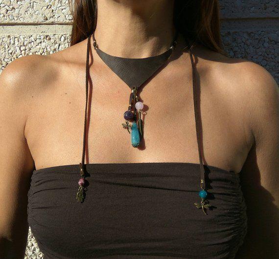 Boho jewelry, bohemian necklace, bib necklace, Boho bib necklace, leather bib necklace, stone necklace, natural stones bib, bohemian jewelry