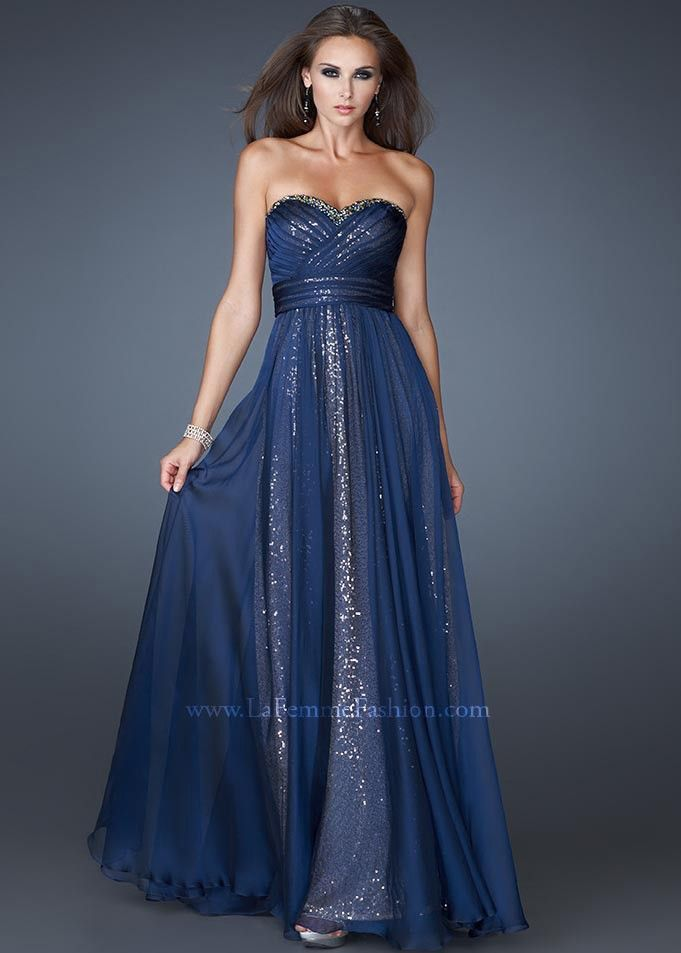 Dark Blue Sparkly Prom Dressesla Femme Navy Blue Strapless Sequin ...
