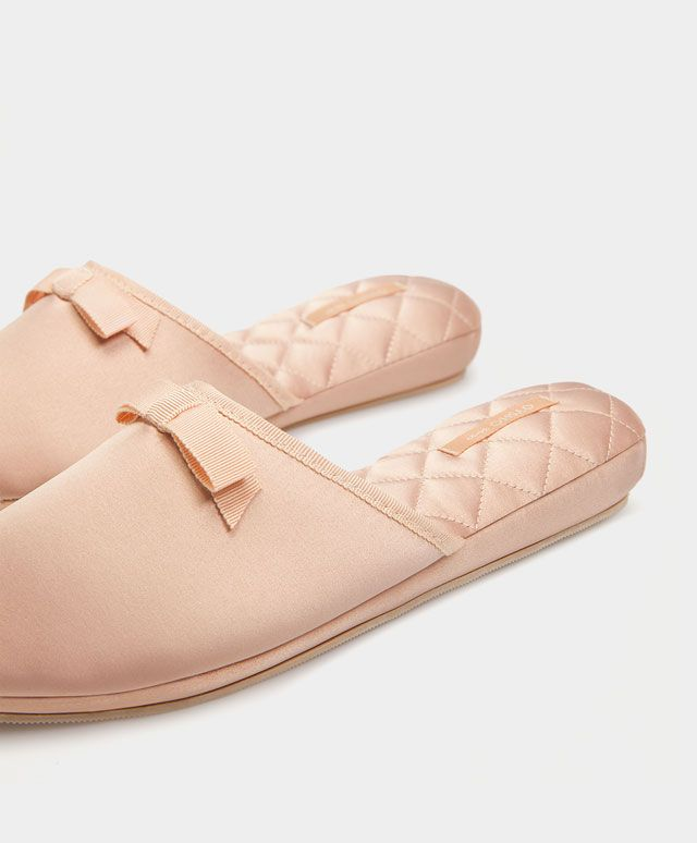 Satin Slippers 2490rsd House With Bow Detail In A Pink Colour