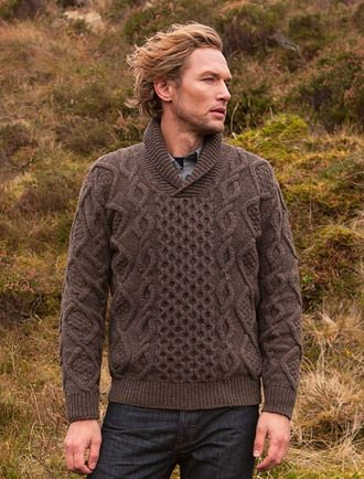 Aran Shawl Neck Fisherman Sweater Loden Knitting For Men