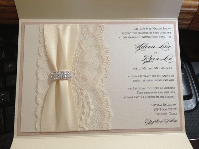 Blush And Ivory Wedding Invitations: Blush And Ivory Lace Pocketfold Wedding Invitation.