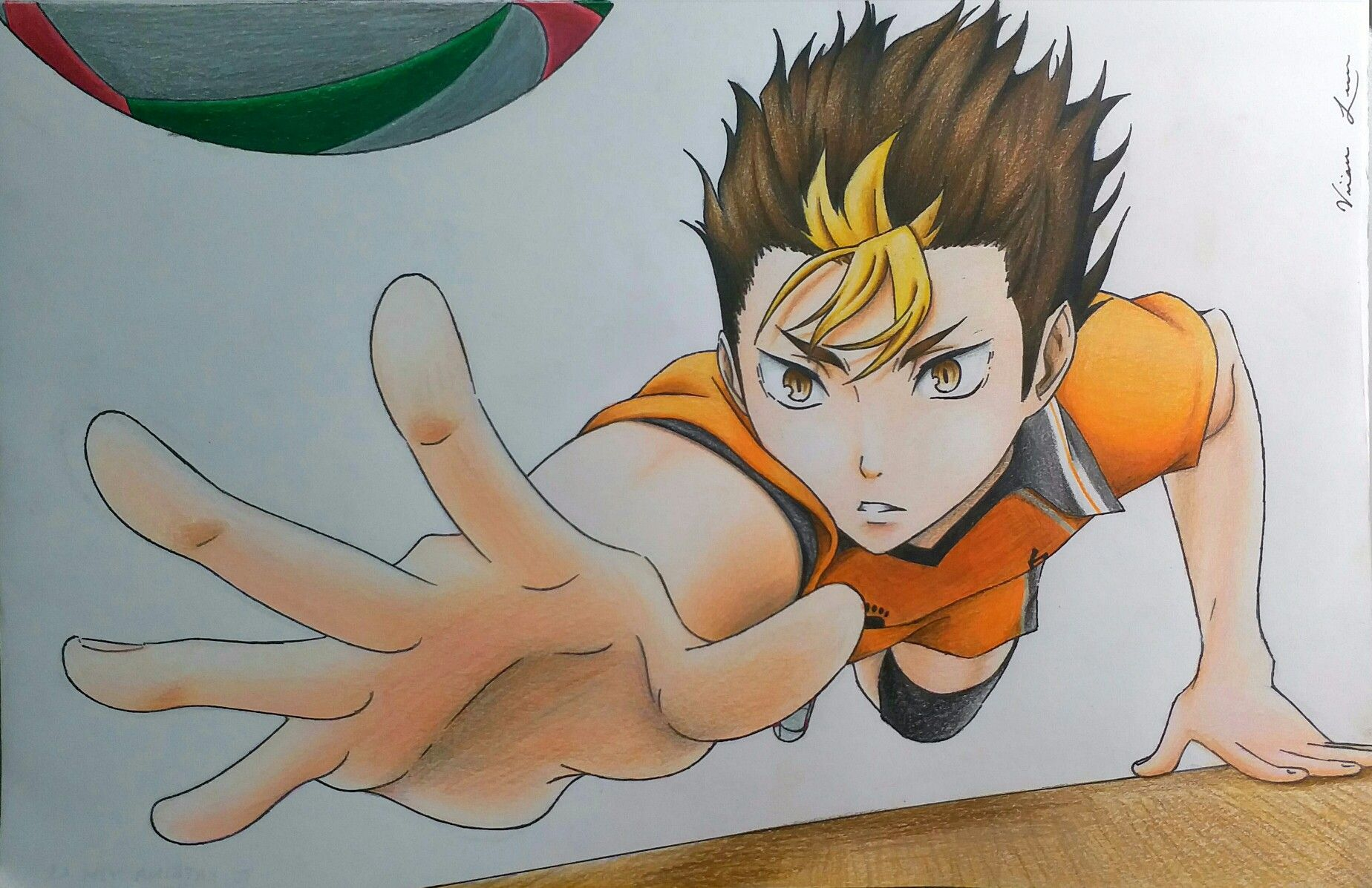 Colour Pencil Drawing Of Nishinoya Yuu Nishinoya Yuu Nishinoyayuu Noya Noyasan Haikyuu Haikyu Hq Karasuno Vol Drawings Anime Drawings Pencil Drawings