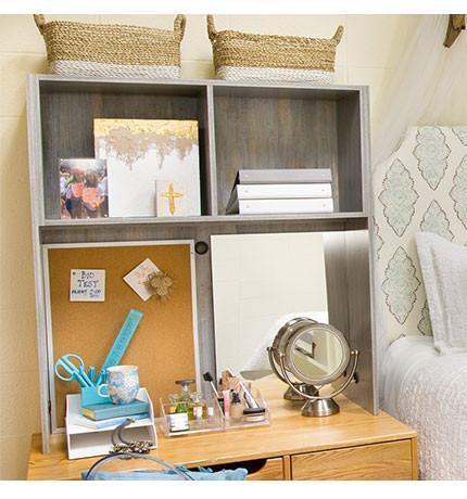 Desk Cubby Mirror and Corkboard