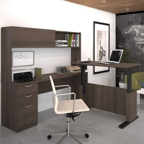Uptown Height Adjustable L Shape Desk With Hutch