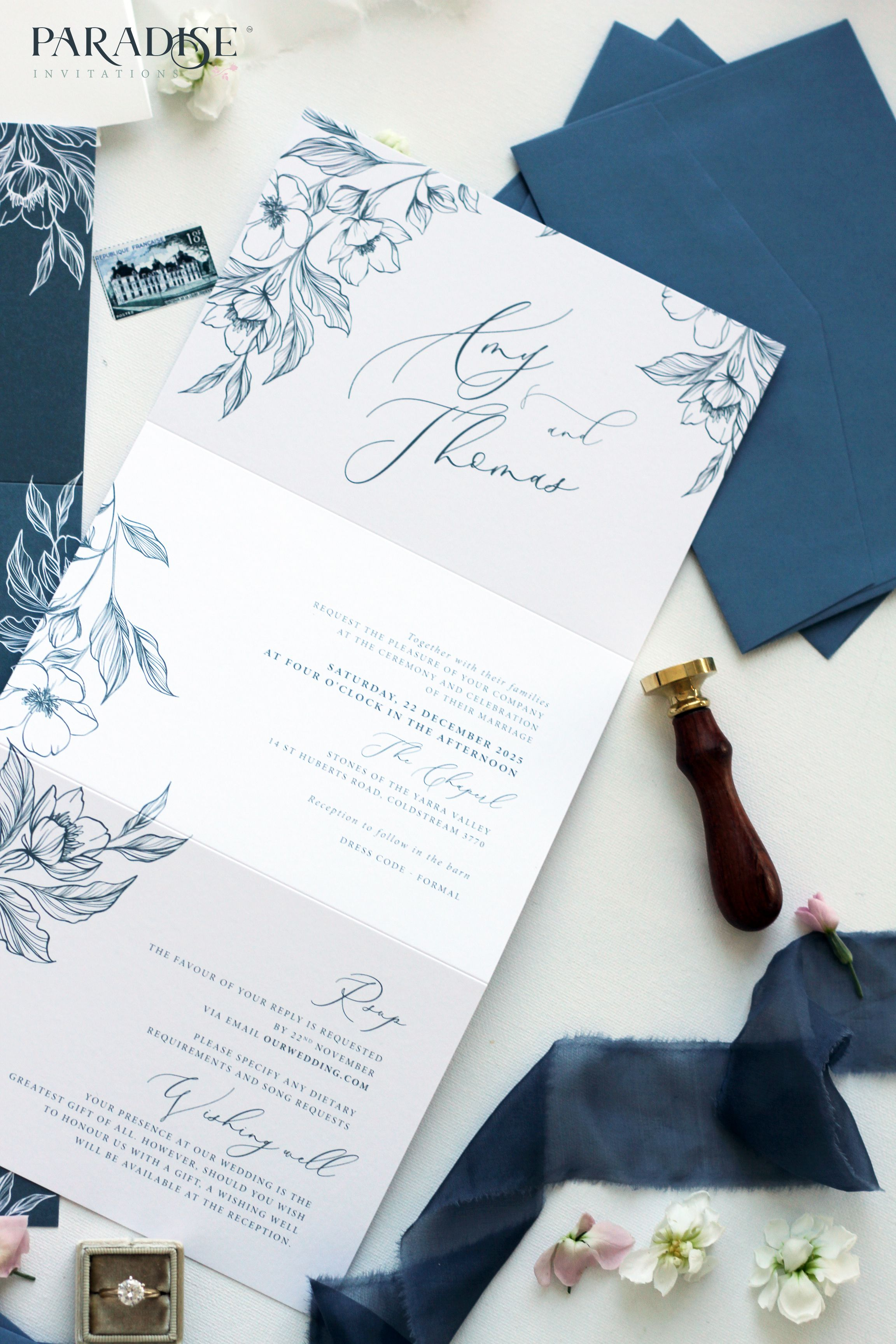 Pin By Natali Capitani On Dustyblue With Images Tri Fold Wedding Invitations Custom Wedding Cards Wedding Invitations Australia