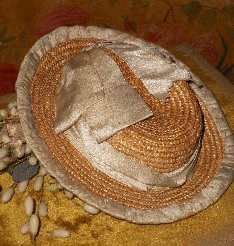 Beautiful all Original Straw Bonnet with Silk Decoration
