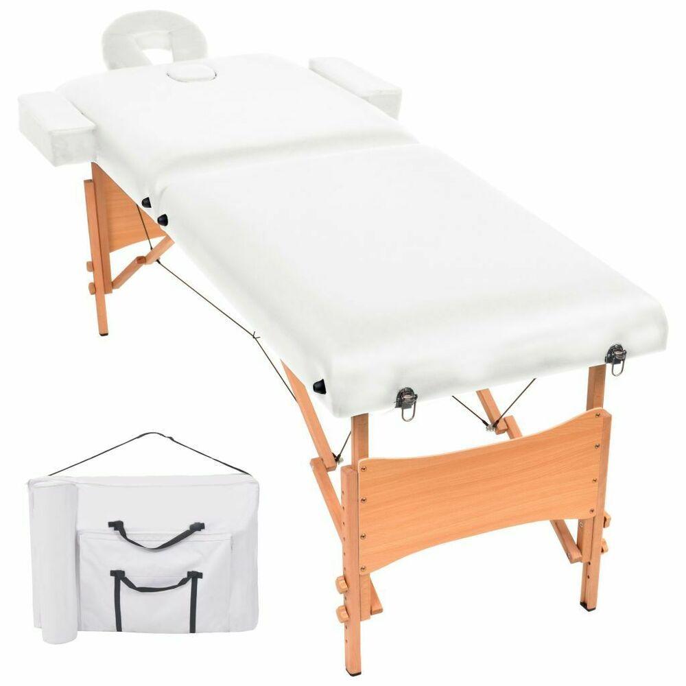 Vidaxl Table De Massage Pliable A 2 Zones 10 Cm D Epaisseur Blanc Lit Banc Storage Sun Lounger Furniture