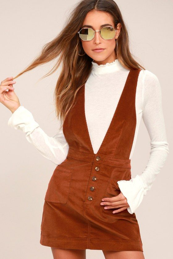 8f6805078ec1 Be the cutest girl at school in the Free People Old School Love Rust Orange  Corduroy Pinafore Dress! Velvety corduroy (with a bit of stretch) shapes  this ...