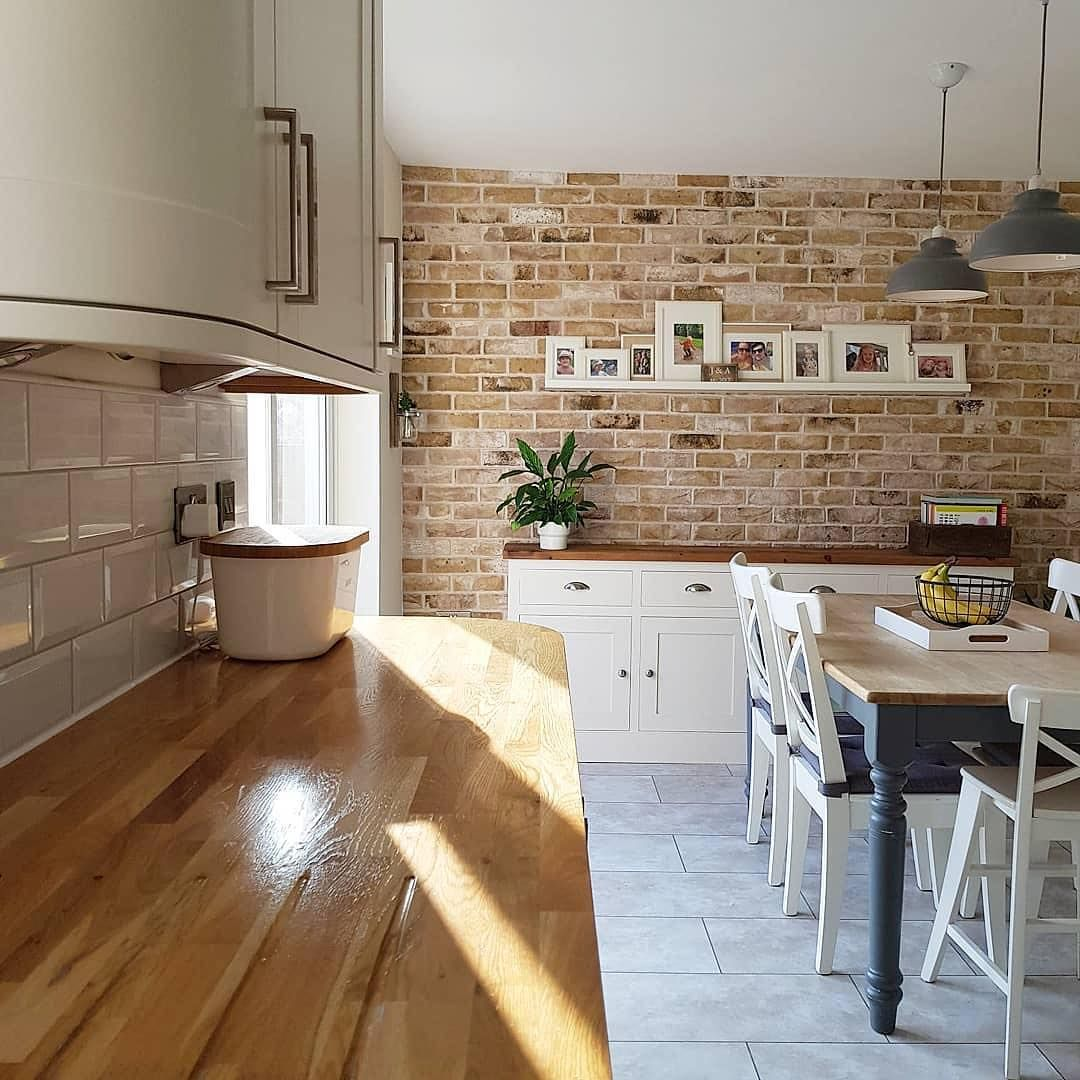 Brick Slips On Instagram Absolutely Love This Contrast Of White Tiles Wood Worktops And Our Londo Wood Worktop White Brick Tiles Kitchen Brick Tiles Kitchen
