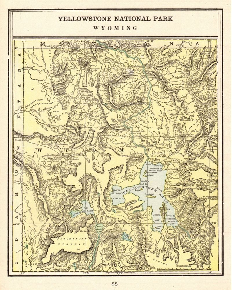 1900 Antique Yellowstone National Park M Vintage Yellowstone Wyoming - Yellowstone-us-map