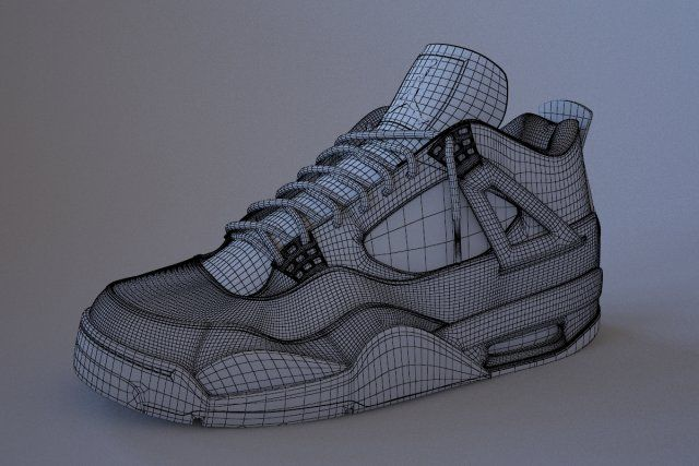 b64b3f658b32 Air Jordan 4 Bred 3D Model   Clothing .max .c4d .obj .3ds .fbx .lwo .stl