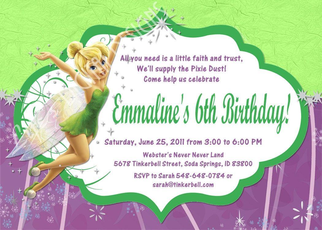 Tinker Bell Invitation Tinkerbell Invitations Party Birthday Invites Fairy