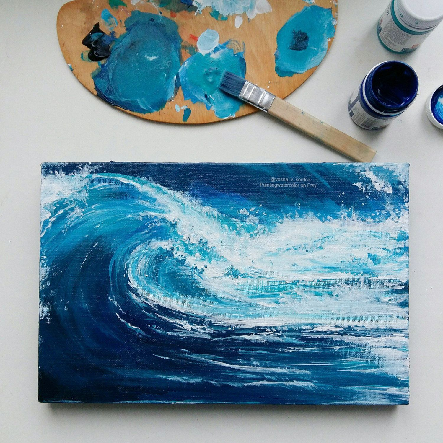 Blue Ocean Painting Sea Acrylic Painting Canvas Stormy Beach