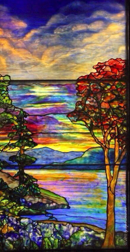 Stained Glass Art Trees Clouds Water With Images Tiffany