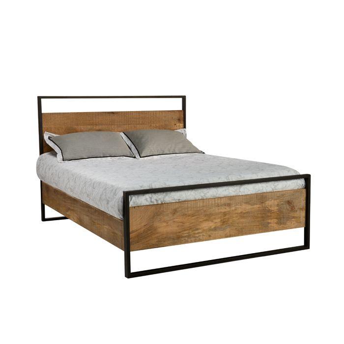 mobilia grand lit en bois et m tal elements mobilia elements queen wood and metal bed for. Black Bedroom Furniture Sets. Home Design Ideas