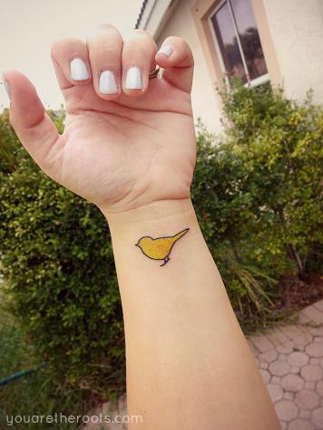 Yellow bird tattoo, Bright Eyes, Conor Oberst